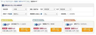価格ドットコムの海外Wi-Fiレンタルサービスの検索結果の画面