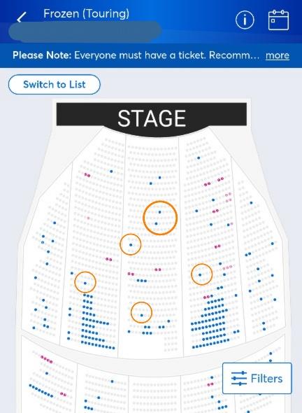 チケットマスターの詳細な座席選択画面