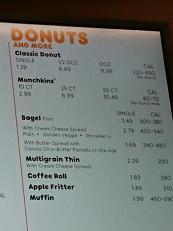 ダンキンドーナツのドーナツの料金