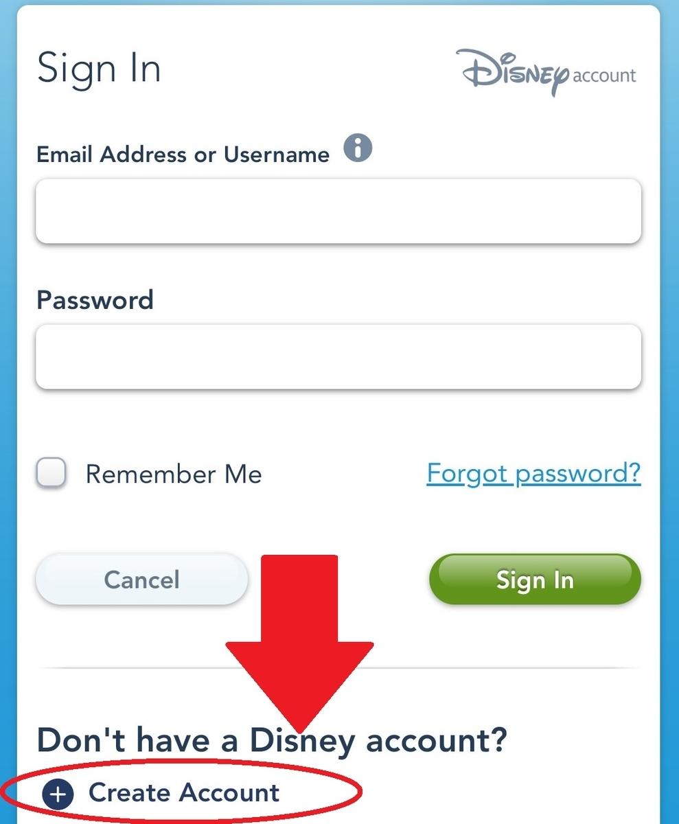 ディズニーワールド公式HP メニューからログイン画面へ