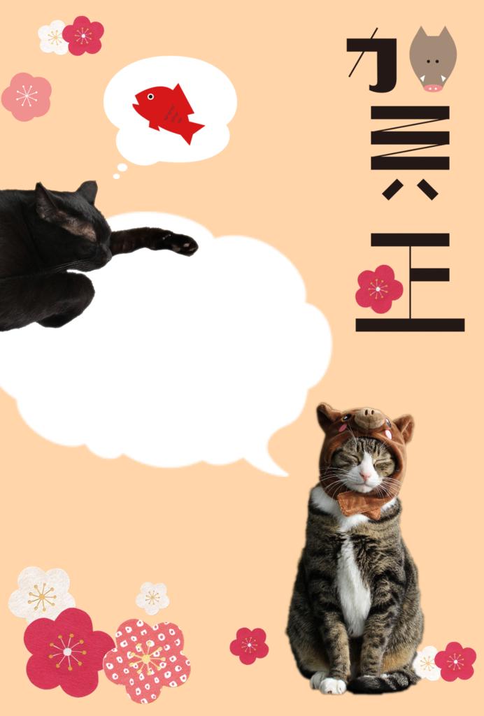 年賀状 はがきデザインキット 猫