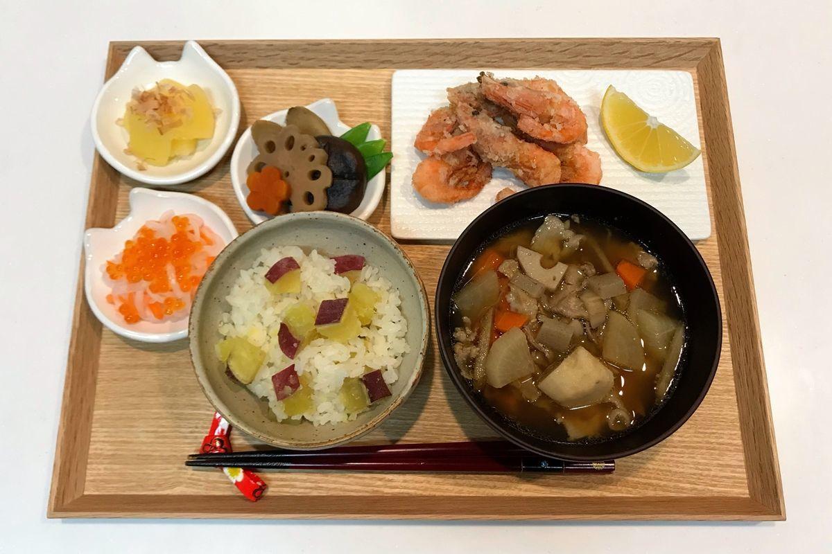【献立・一汁四菜】さつまいもごはん+おせち風おかず四品+豚汁