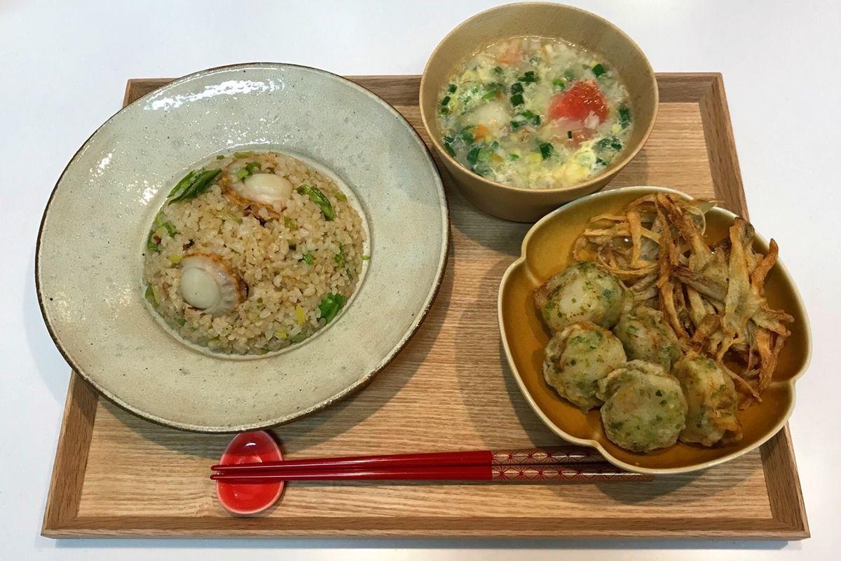 【献立・一汁一菜】ホタテづくし!ホタテのガリバタチャーハン+揚げもの2種+中華スープ