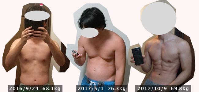 筋トレ前と増量後とげ減量後の体型ビフォーアフター写真