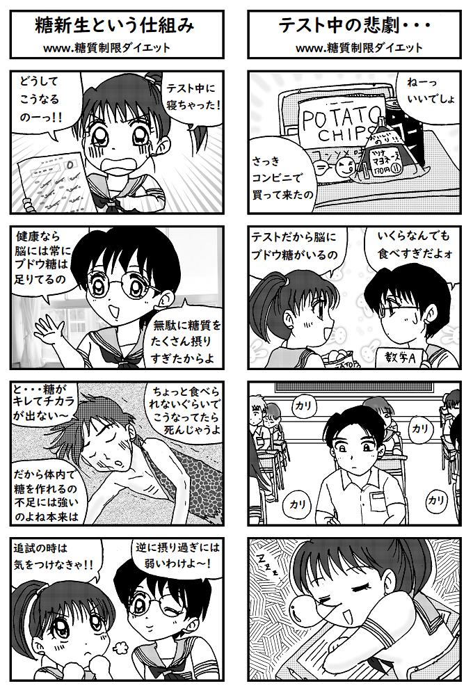 糖質の食べ過ぎでテスト中に寝てしまった女子高生の漫画