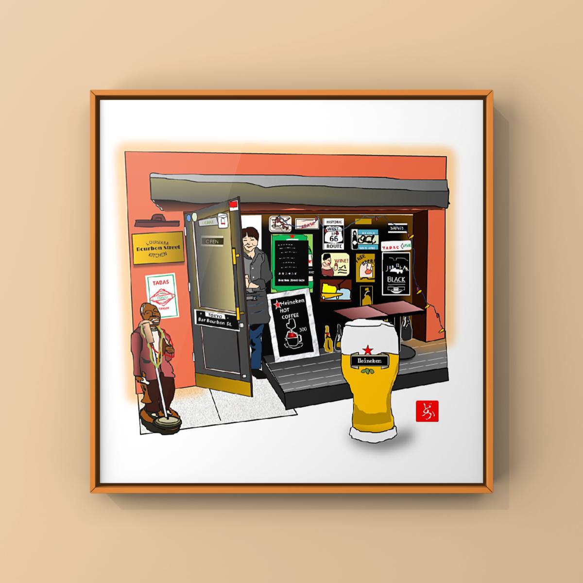 六本木にあったケイジャン料理カフェレストラン「バーボンストリート」のエクセル画額装版