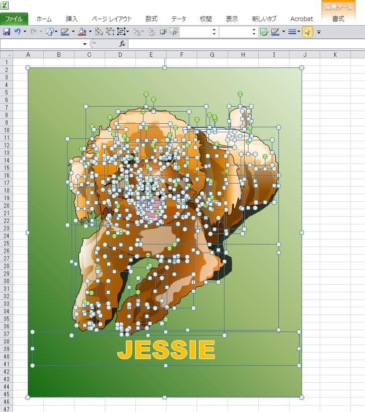 ウチのワンちゃん、トイプードルのジェシーのエクセル画イラストドット版