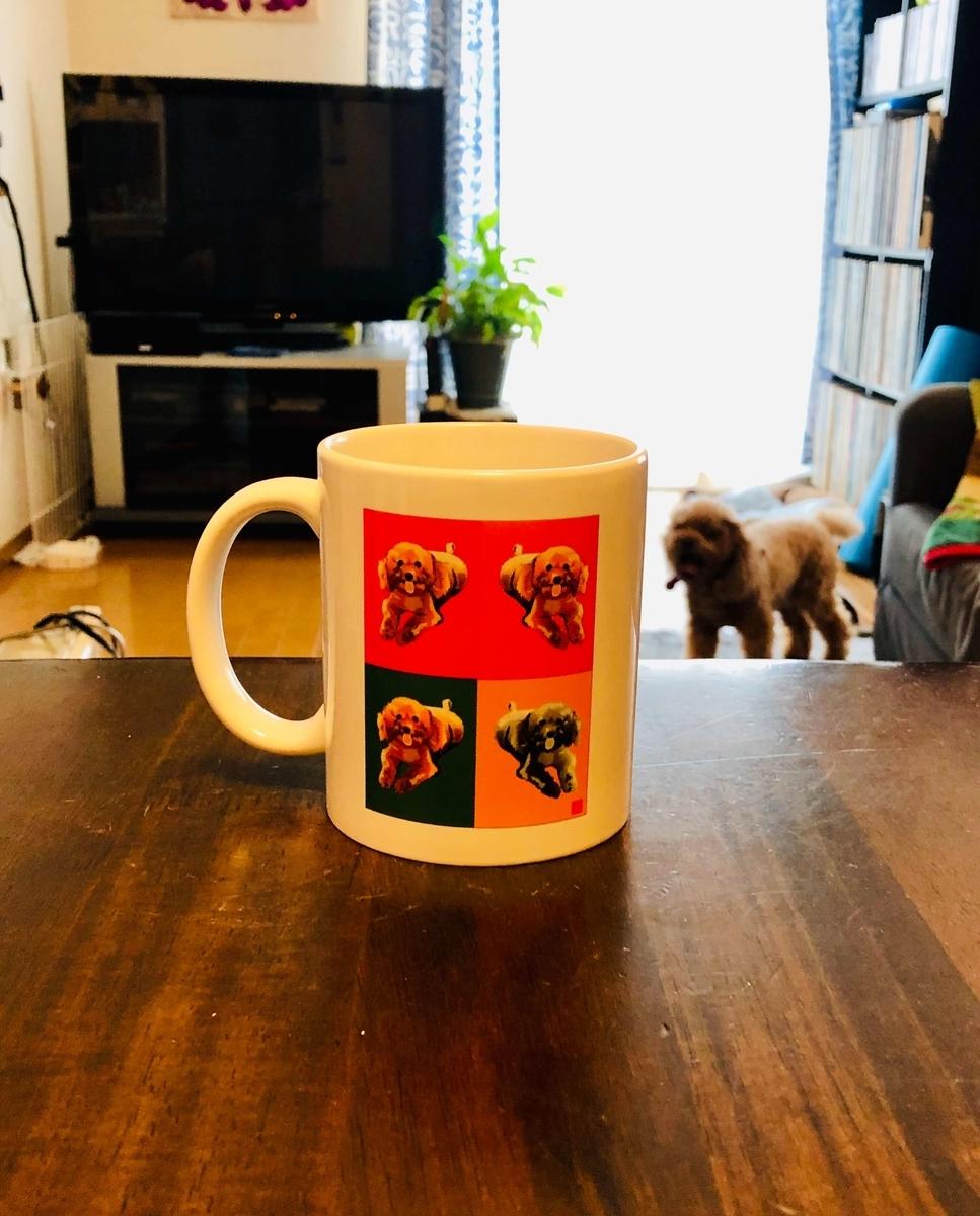 ウチのワンちゃん、トイプードルのジェシーのエクセル画イラストのマグカップ