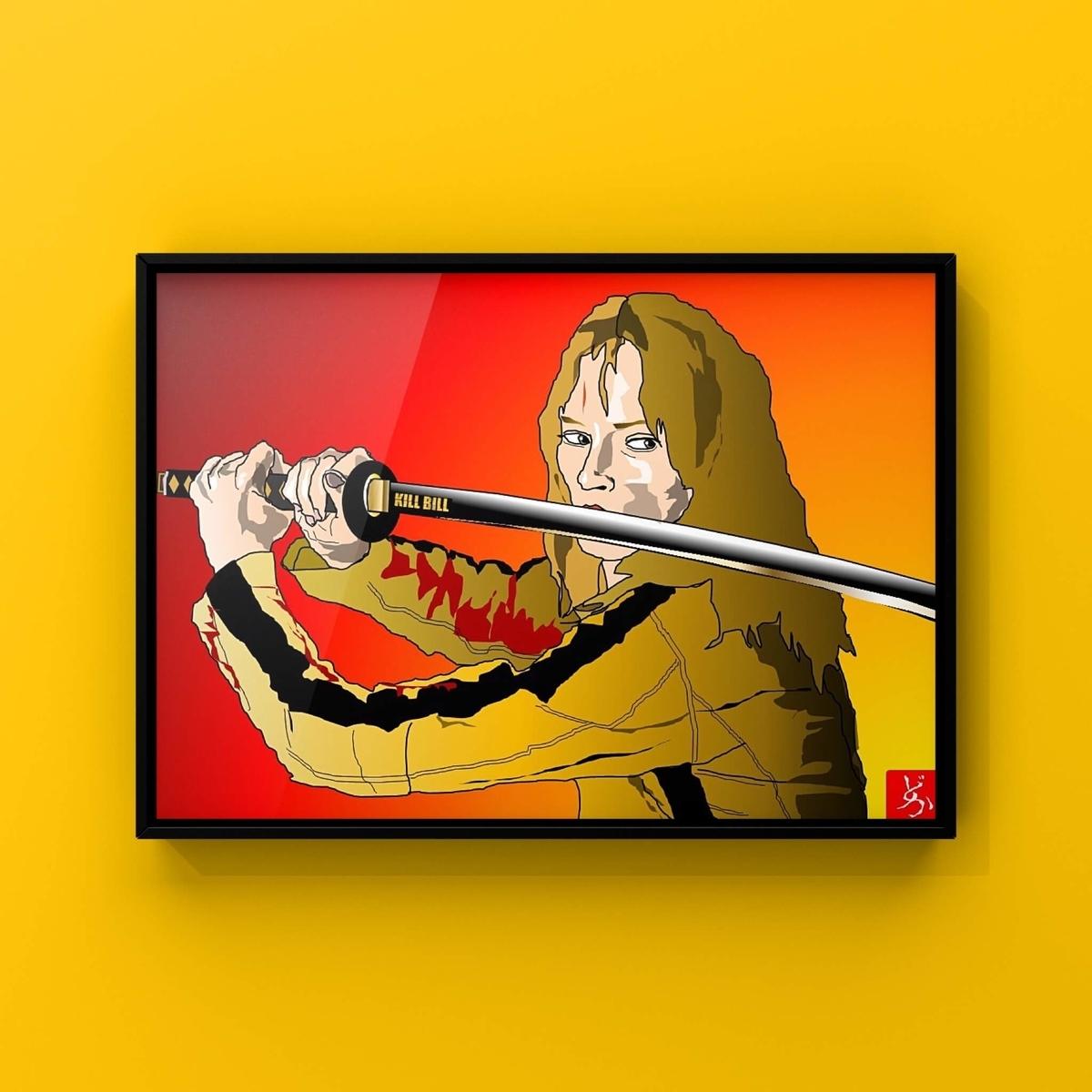 タランティーノの代表作「キル・ビル」ユマ・サーマンのエクセル画額装版
