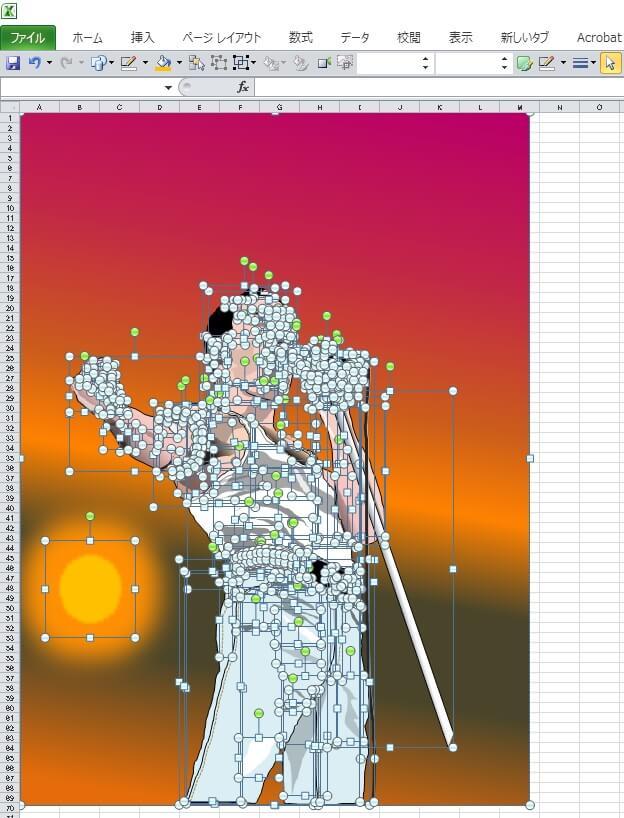ライブ・エイドのフレディ・マーキュリーのエクセル画イラストドット版