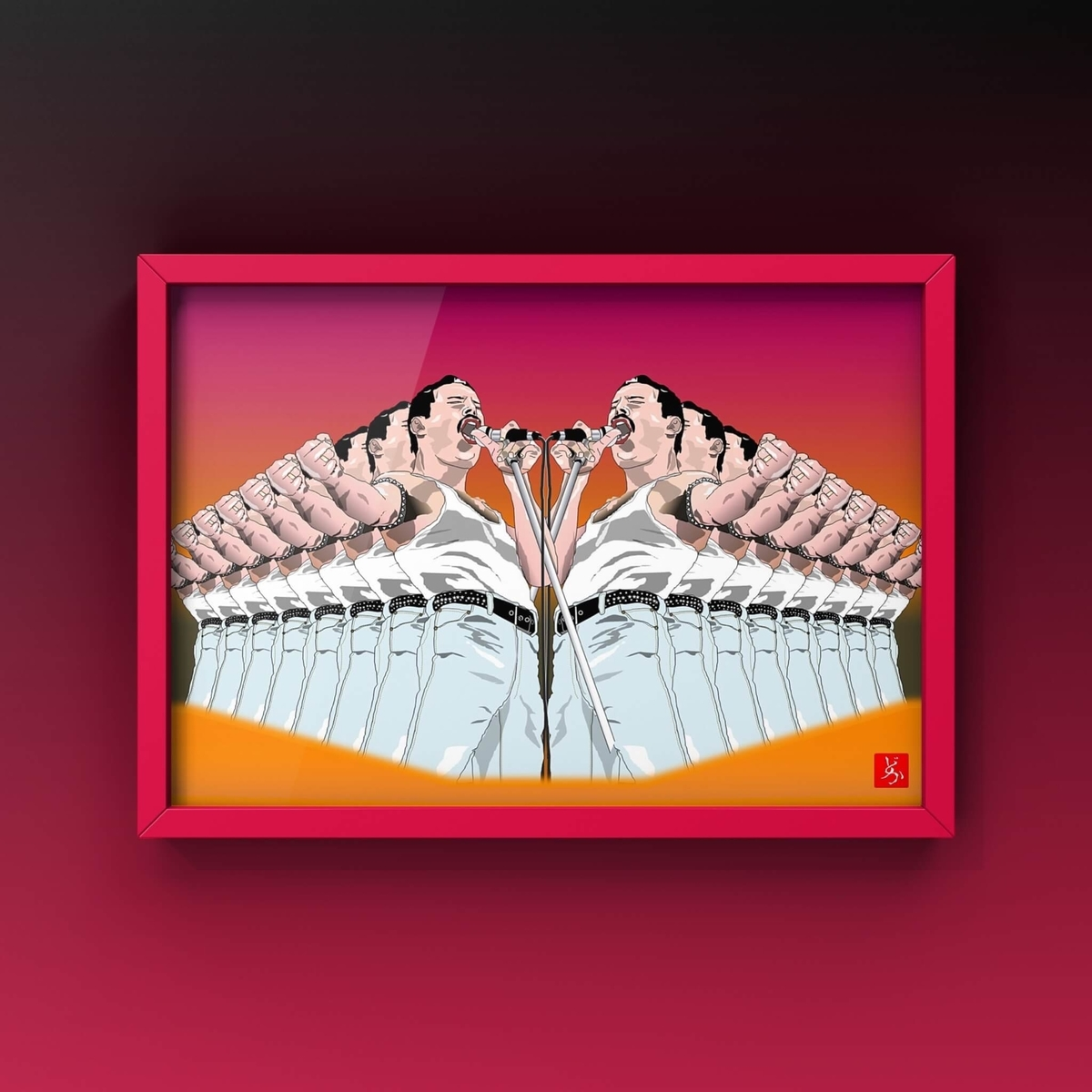 ライブ・エイドのフレディ・マーキュリーのエクセル画イラストバリエーション篇キャプチャ額装版