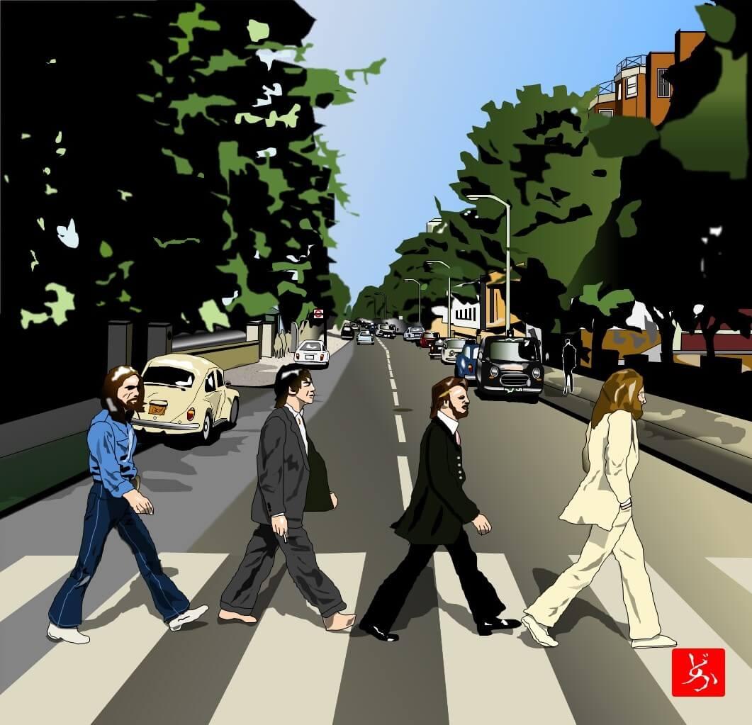 ビートルズ「アビーロード」のエクセル画イラスト