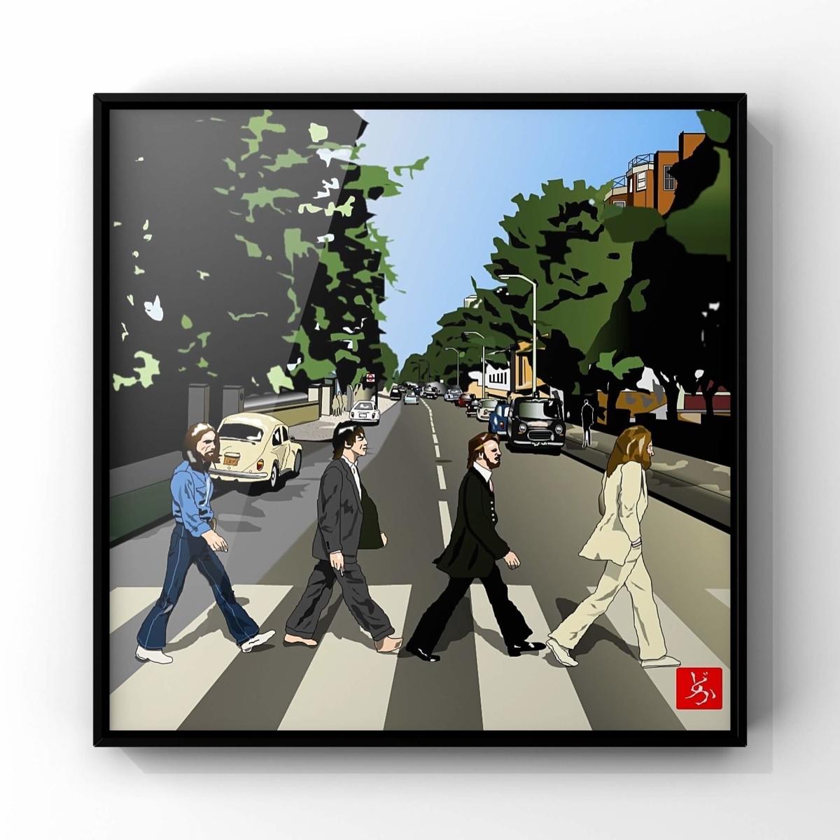 ビートルズ「アビーロード」のエクセル画イラスト額装版