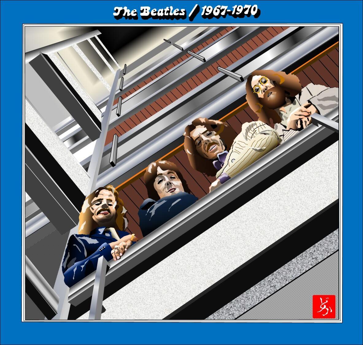 ビートルズの後期ベスト盤「1967-19670」のエクセル画イラスト
