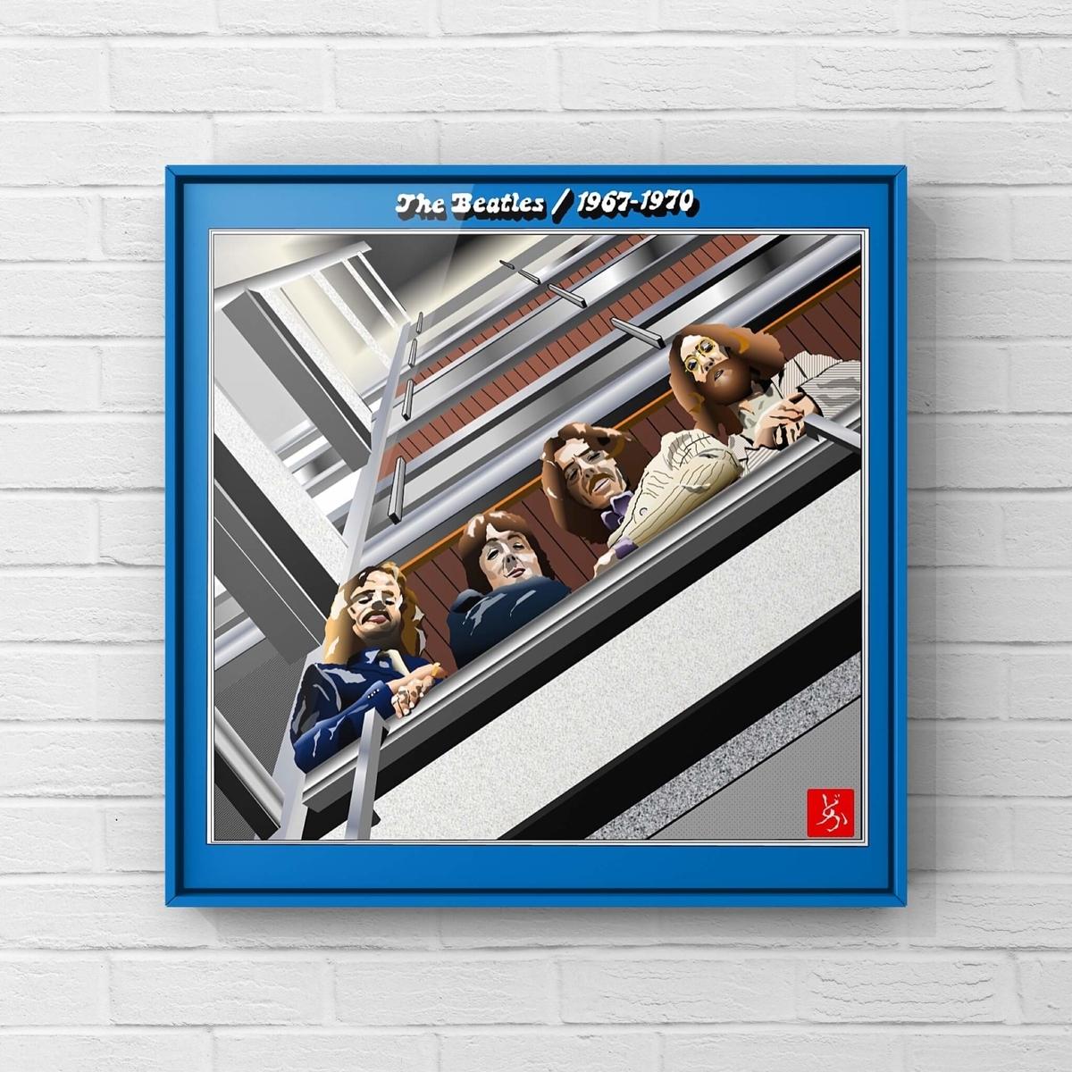 ビートルズの後期ベスト盤「1967-19670」のエクセル画イラスト額装版