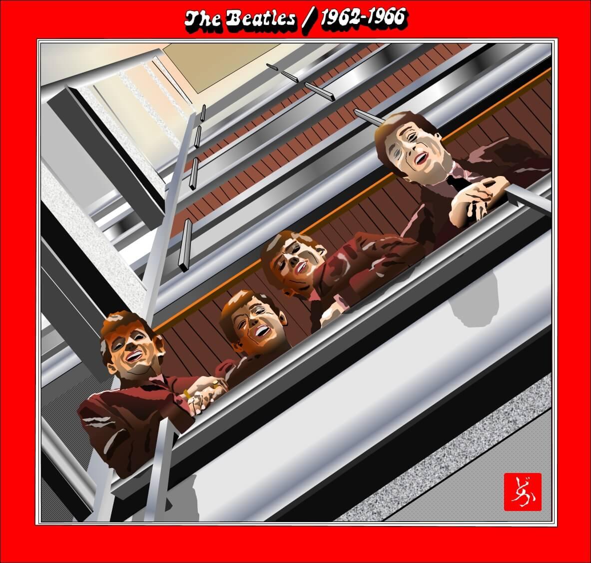 ビートルズの前期ベスト盤「1962-1966」のエクセル画イラスト
