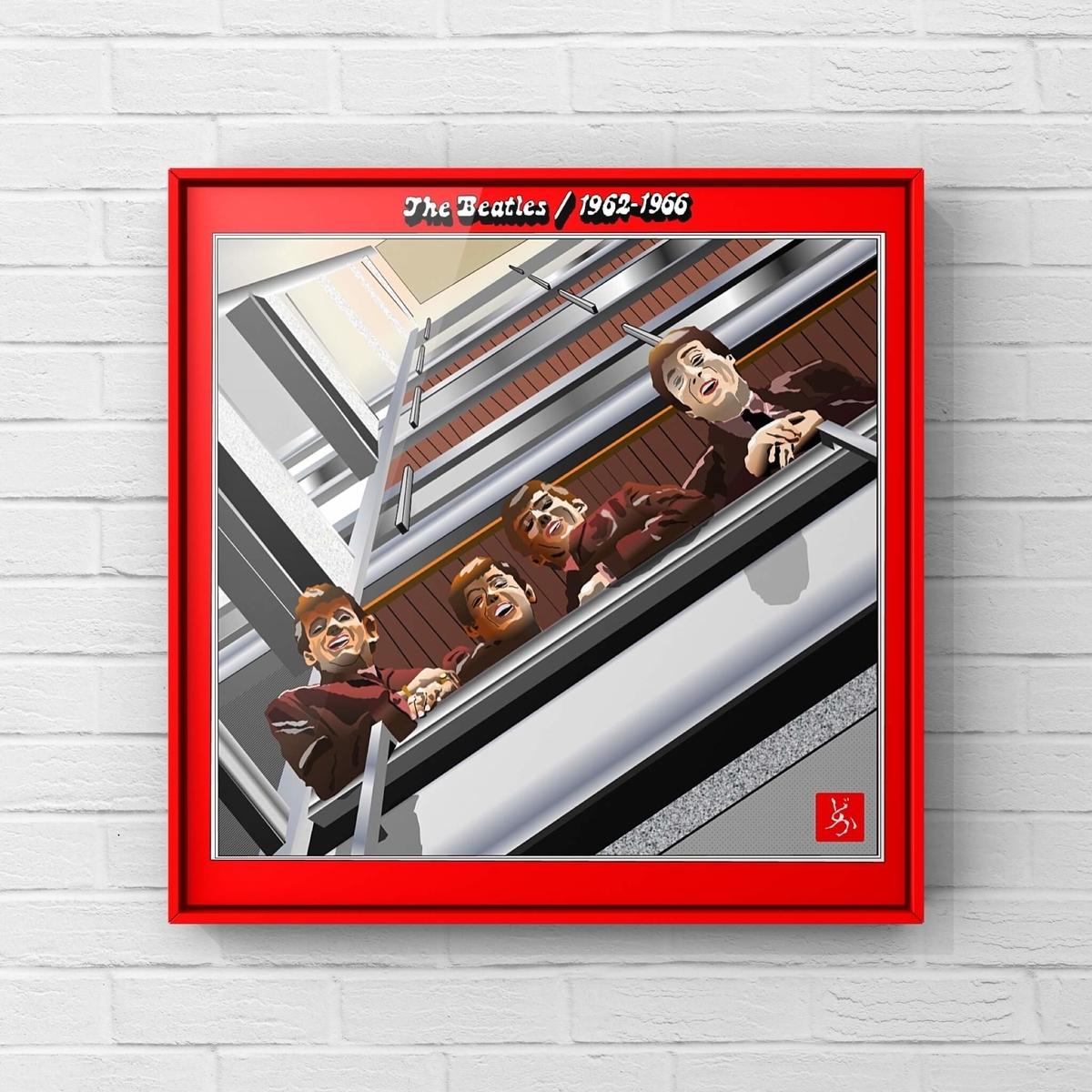 ビートルズの前期ベスト盤「1962-1966」のエクセル画イラスト額装版