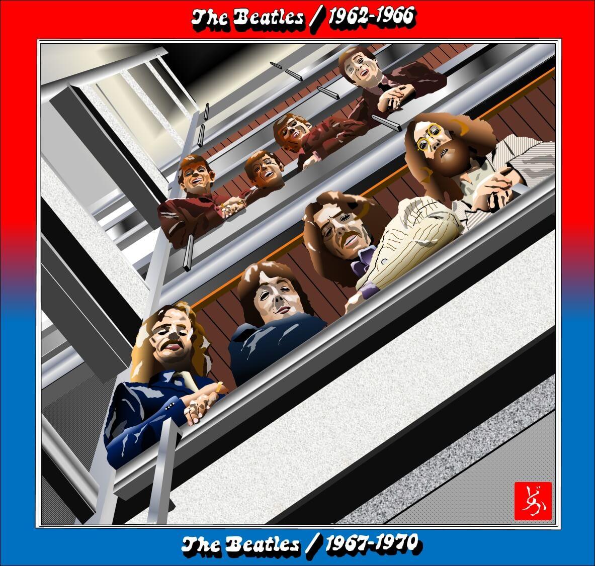 ビートルズベスト盤「1962-1966」「1967-1970」を合体のエクセル画イラスト