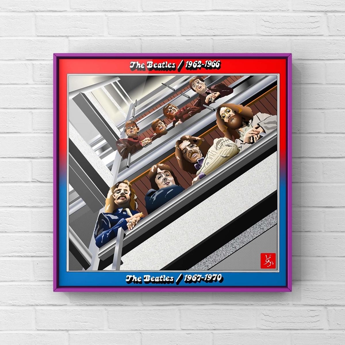 ビートルズベスト盤「1962-1966」「1967-1970」を合体のエクセル画イラスト額装版