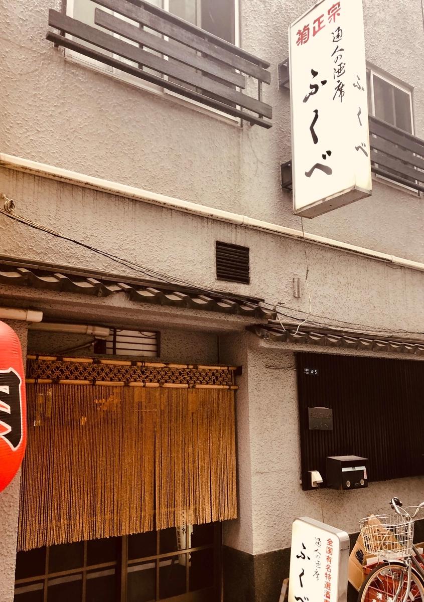 東京・八重洲にある飴色酒場「ふくべ」の外観