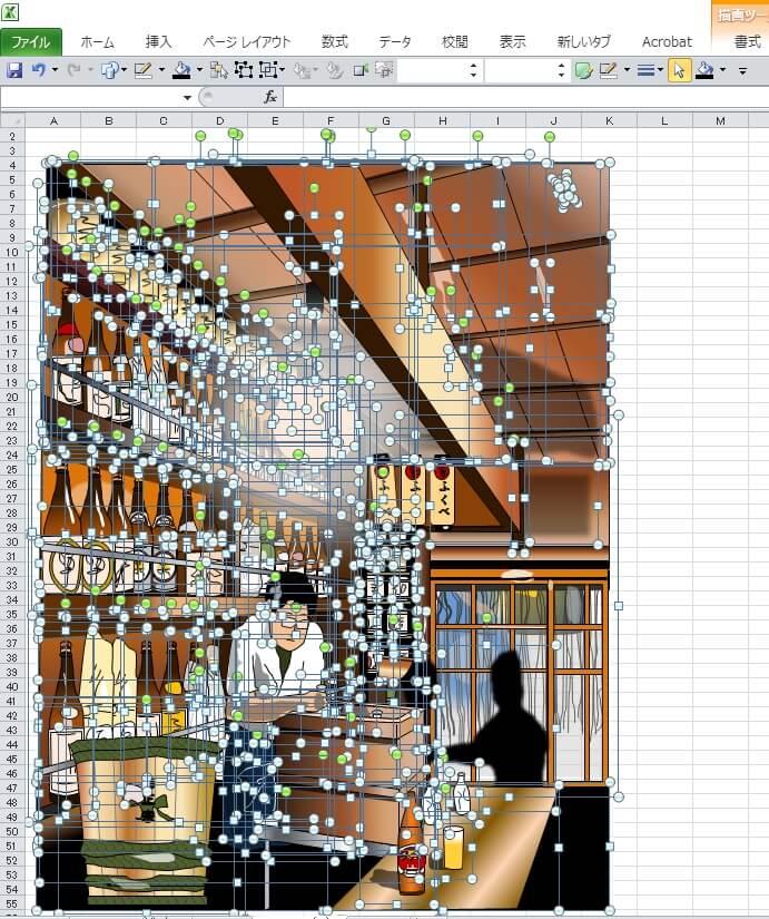 東京・八重洲にある飴色酒場「ふくべ」のエクセル画イラストドット版