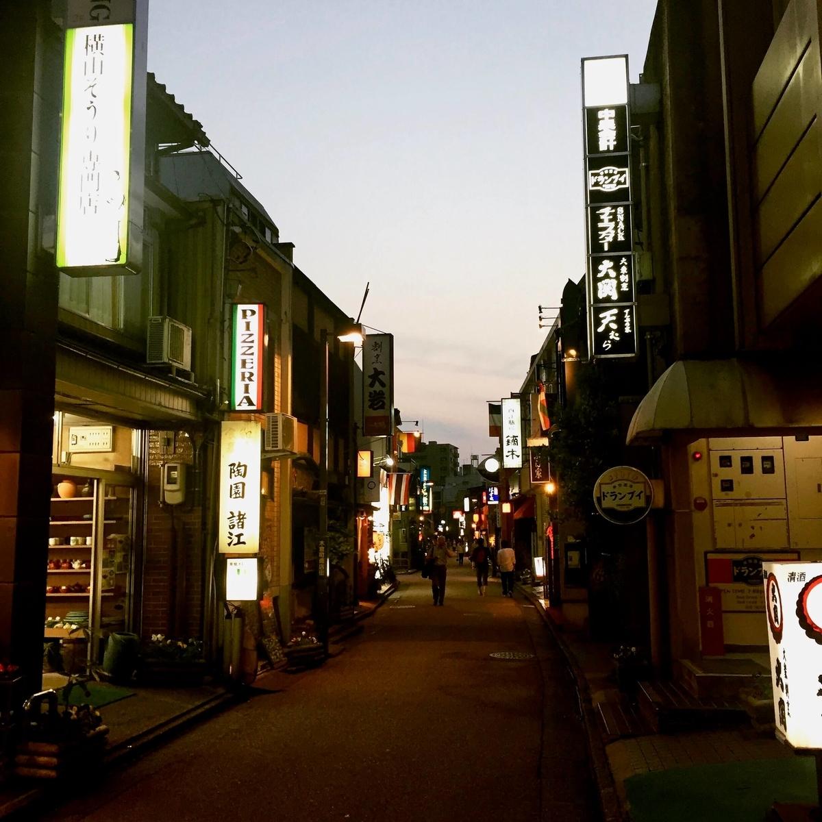 金沢木倉町の夕暮れ
