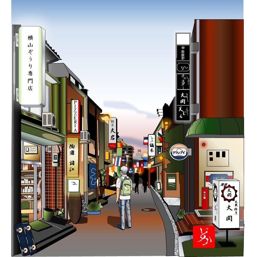 金沢木倉町の夕暮れのエクセル画イラスト