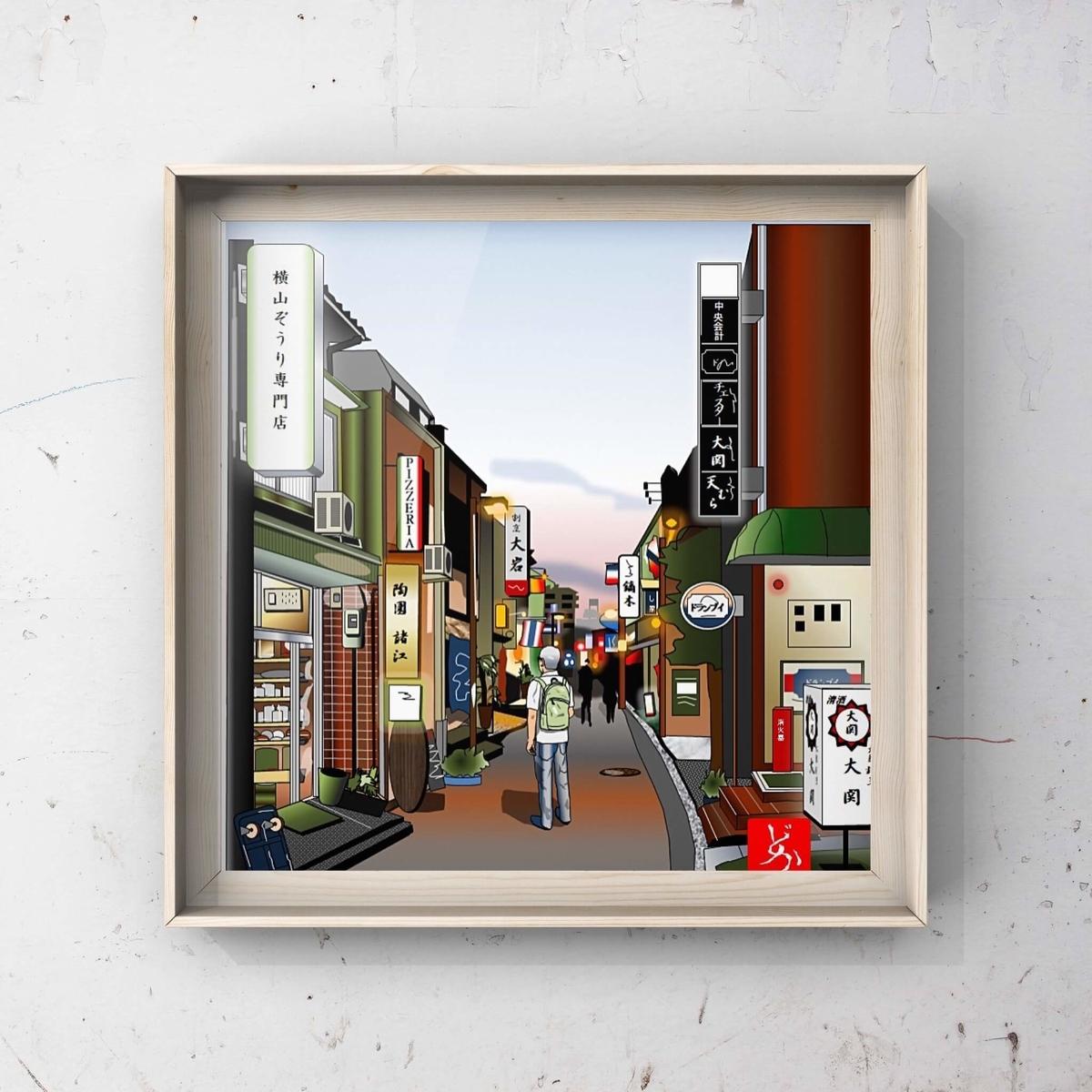 金沢木倉町の夕暮れのエクセル画イラスト金沢額装版