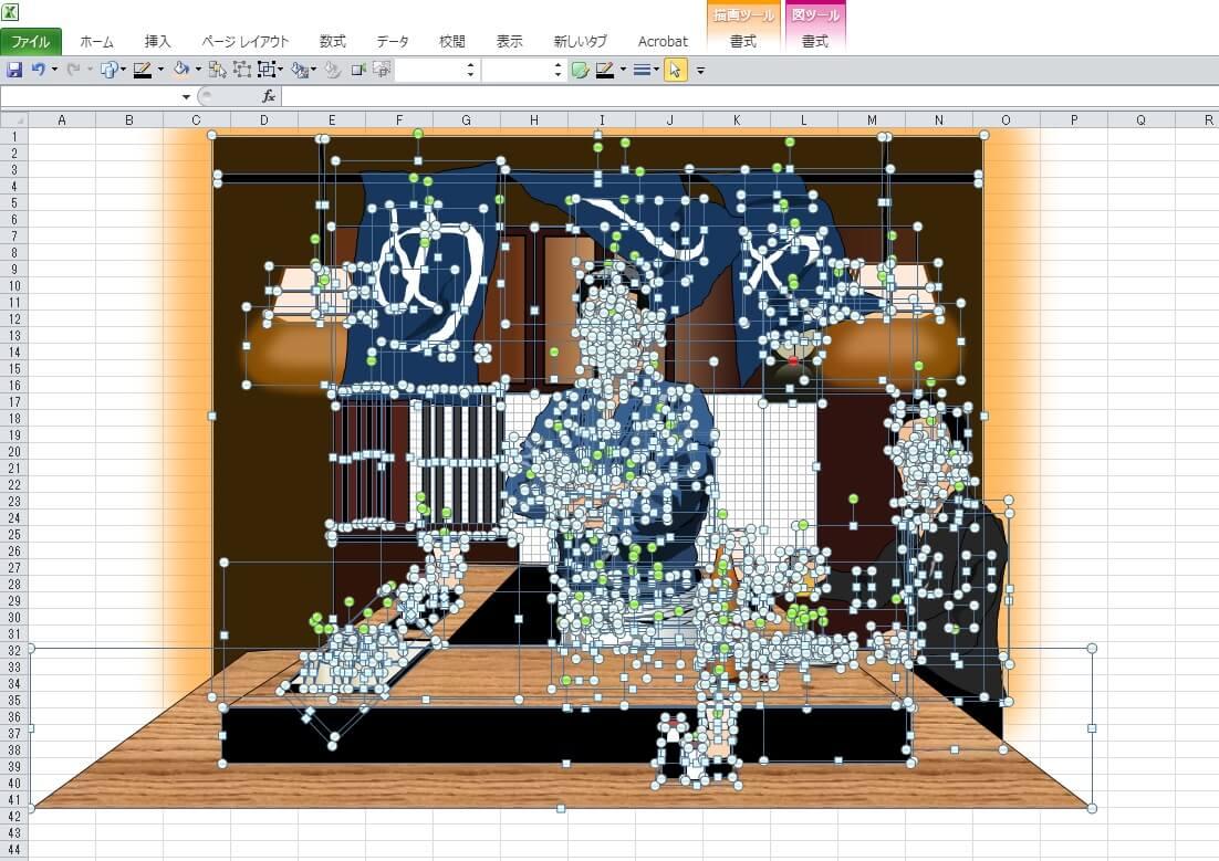ドラマ「深夜食堂」の「めしや」のエクセル画イラストドット版