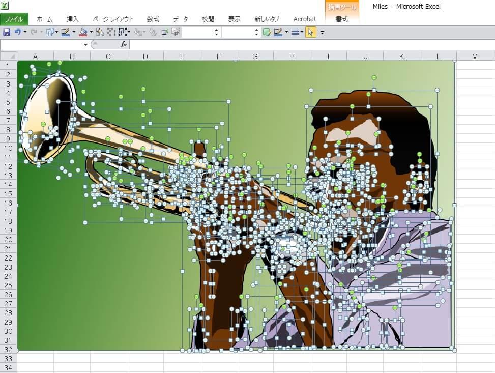 Jazzの帝王マイルス・デイビスのエクセル画イラストドット版