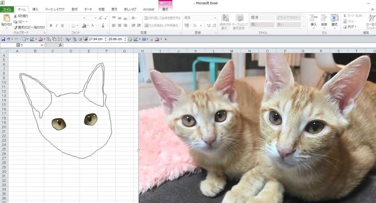 知人の飼い猫のエクセル画イラスト作画過程2