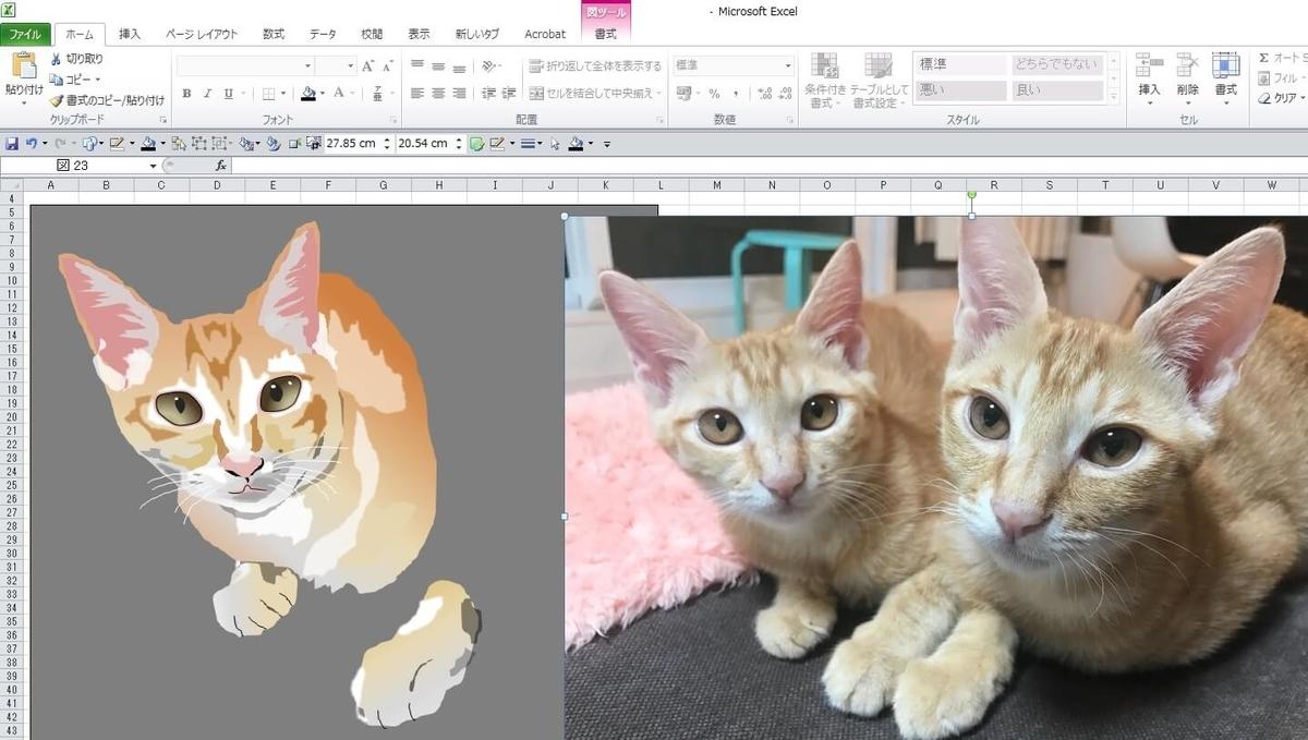 知人の飼い猫のエクセル画イラスト作画過程8