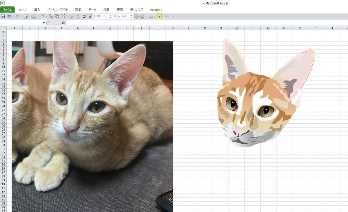 知人の飼い猫のエクセル画イラスト作画過程12
