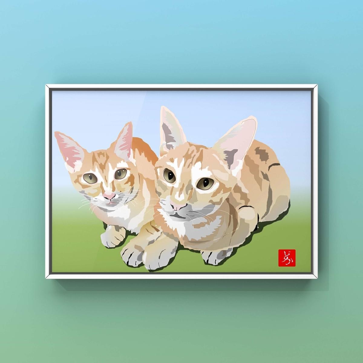知人の飼い猫のエクセル画イラスト額装版