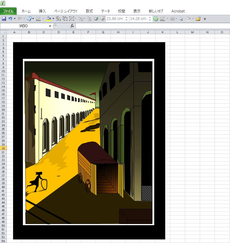 デ・キリコの「通りの神秘と憂鬱」のエクセル画で模写キャプチャ版