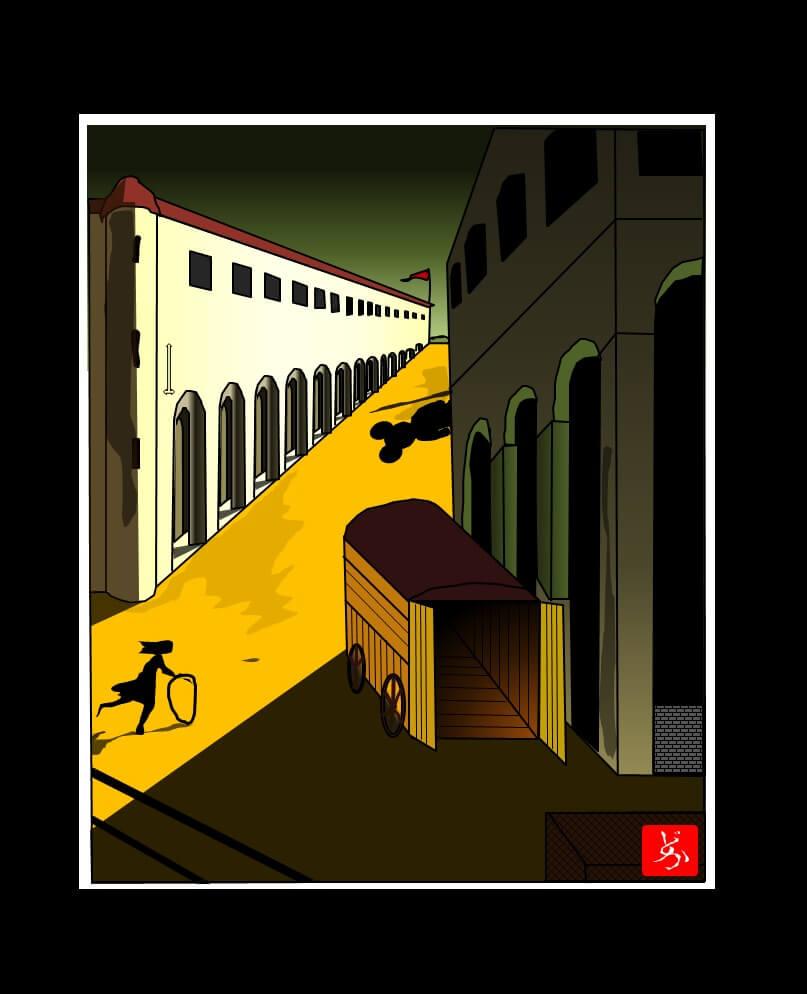 デ・キリコの「通りの神秘と憂鬱」のエクセル画で模写ミッキー版