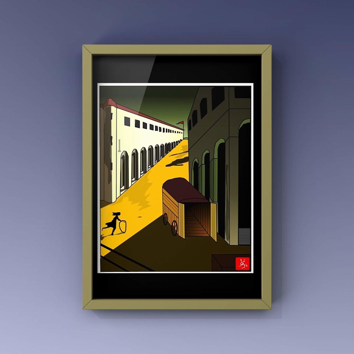 デ・キリコの「通りの神秘と憂鬱」のエクセル画で模写額装版