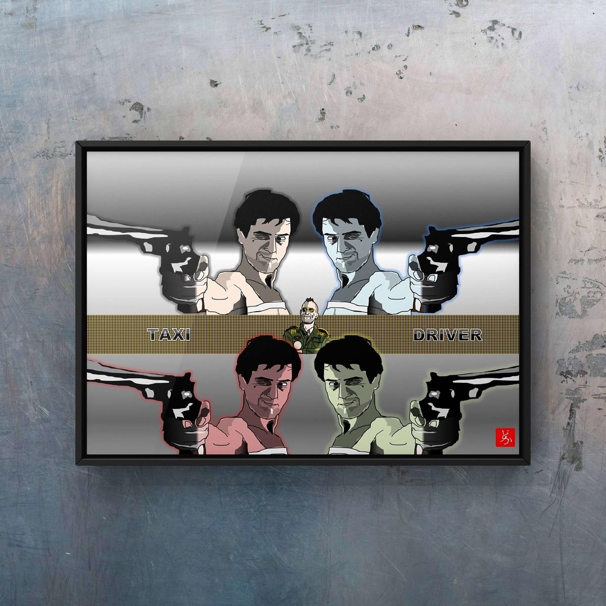 映画「タクシー・ドライバー」のロバート・デニーロのエクセル画イラストバリエーション