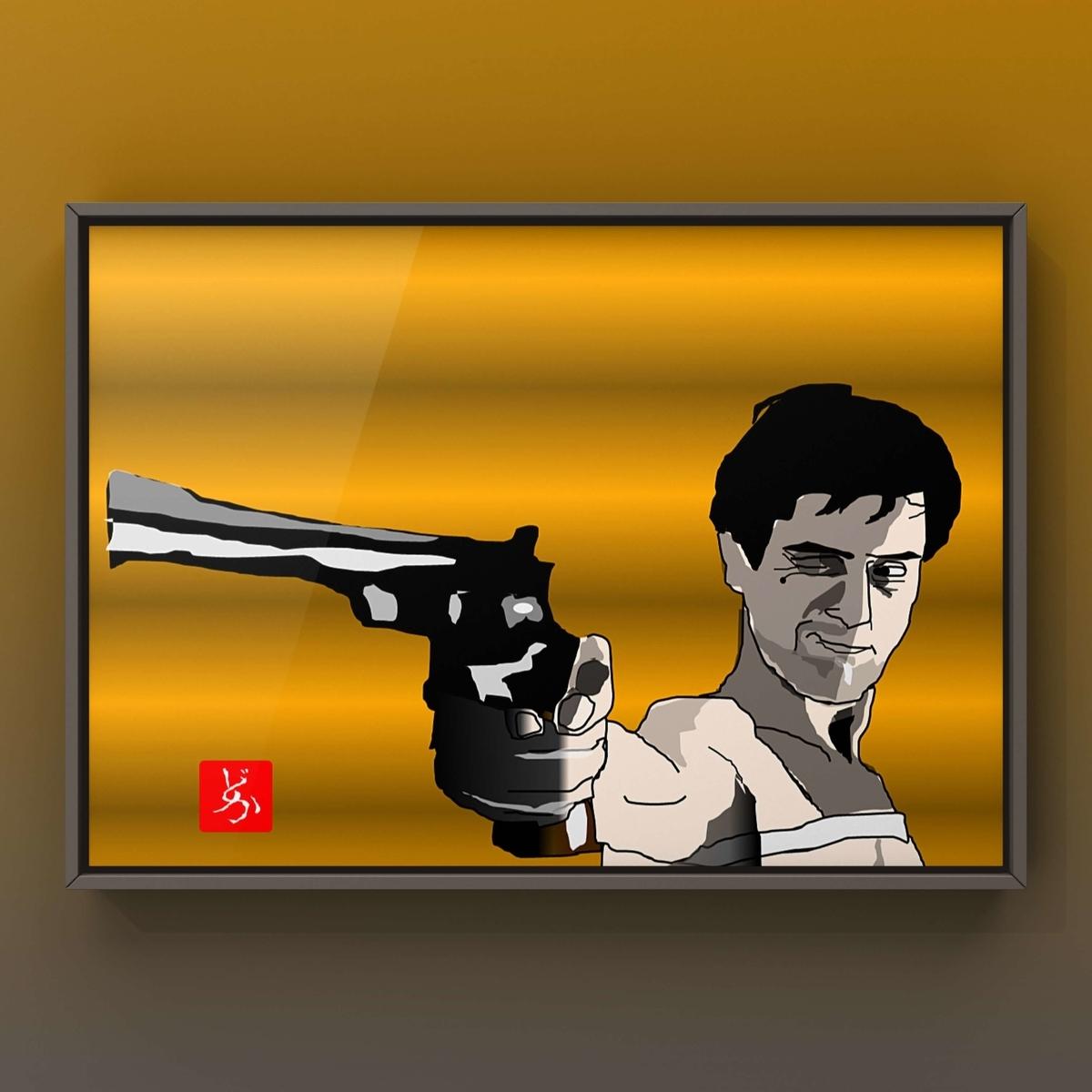 映画「タクシー・ドライバー」のロバート・デニーロのエクセル画イラスト額装版