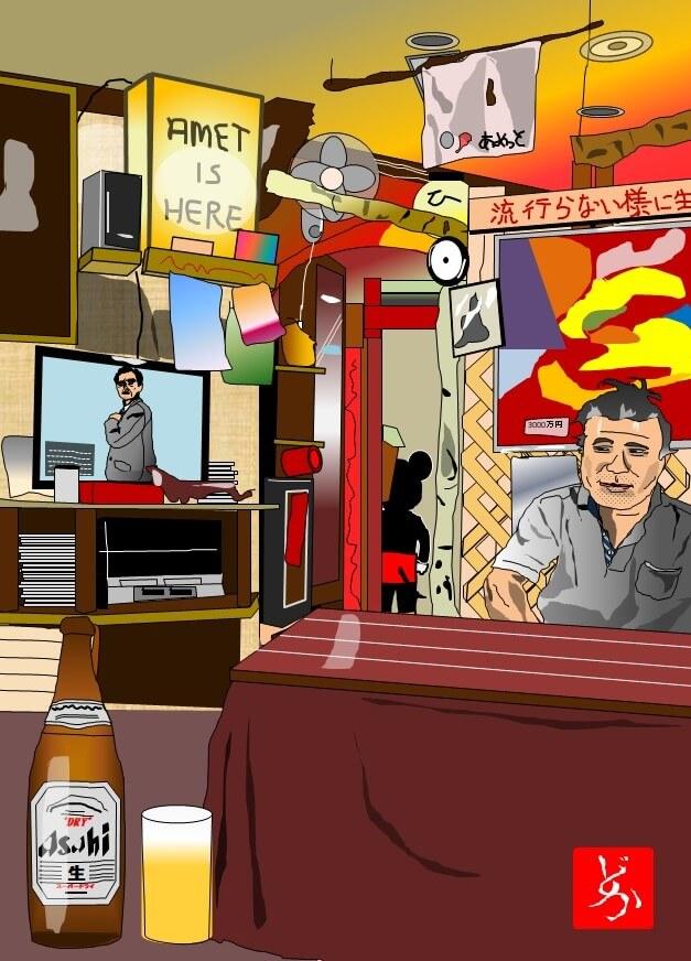 六本木の昭和食堂「Amet(アメット)」のエクセル画イラスト