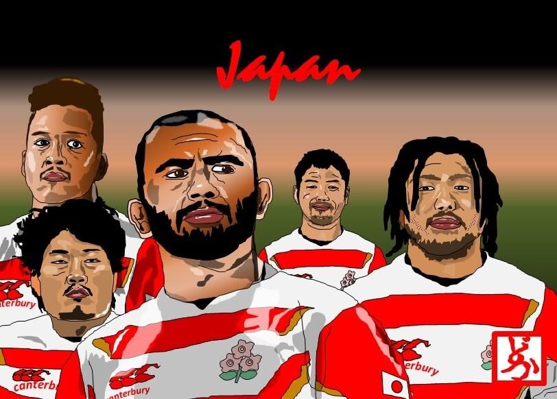 2019ラグビーワールドカップ日本代表のエクセル画イラスト