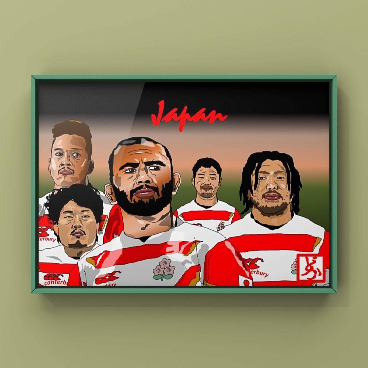 2019ラグビーワールドカップ日本代表のエクセル画イラスト額装版