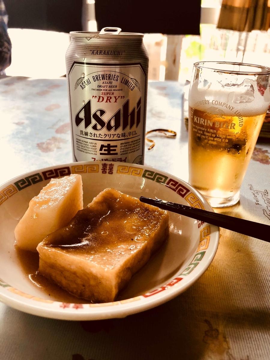 盛岡の激渋角打ち「平興商店」でビールとサービスの煮物