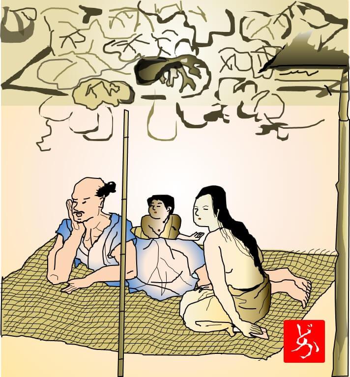 国宝「夕顔棚納涼図屏風」のエクセル画イラスト