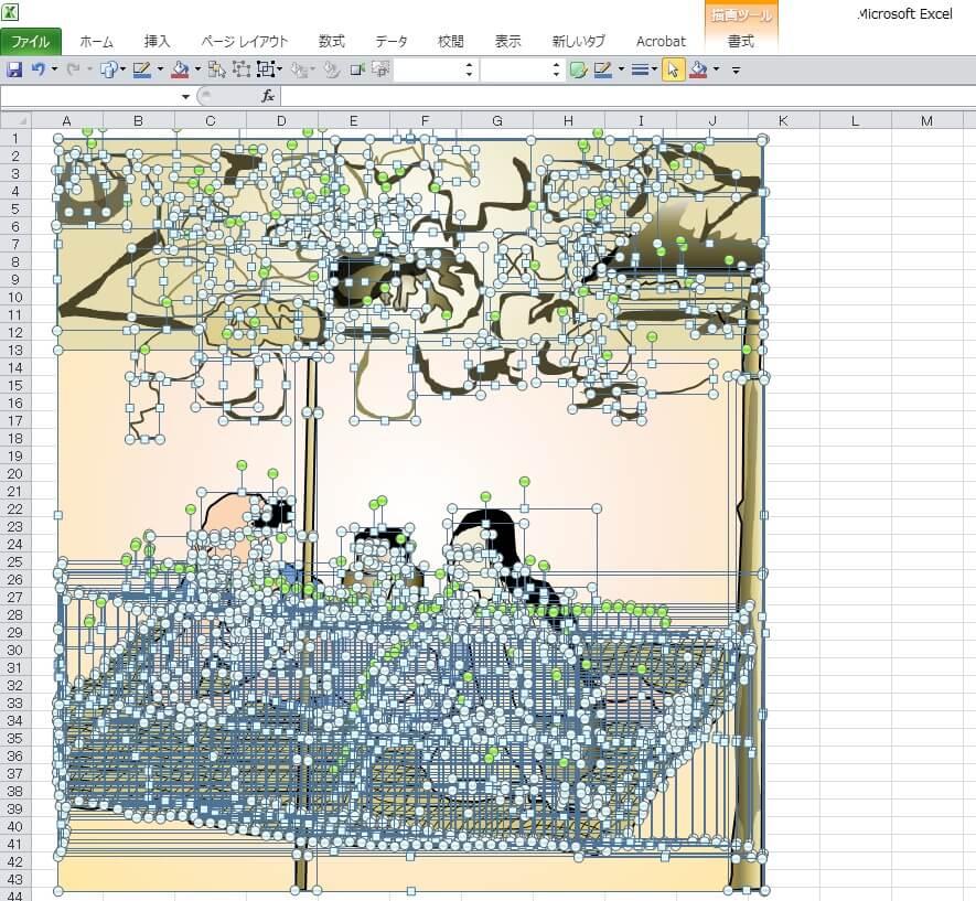 国宝「夕顔棚納涼図屏風」のエクセル画イラストドット版