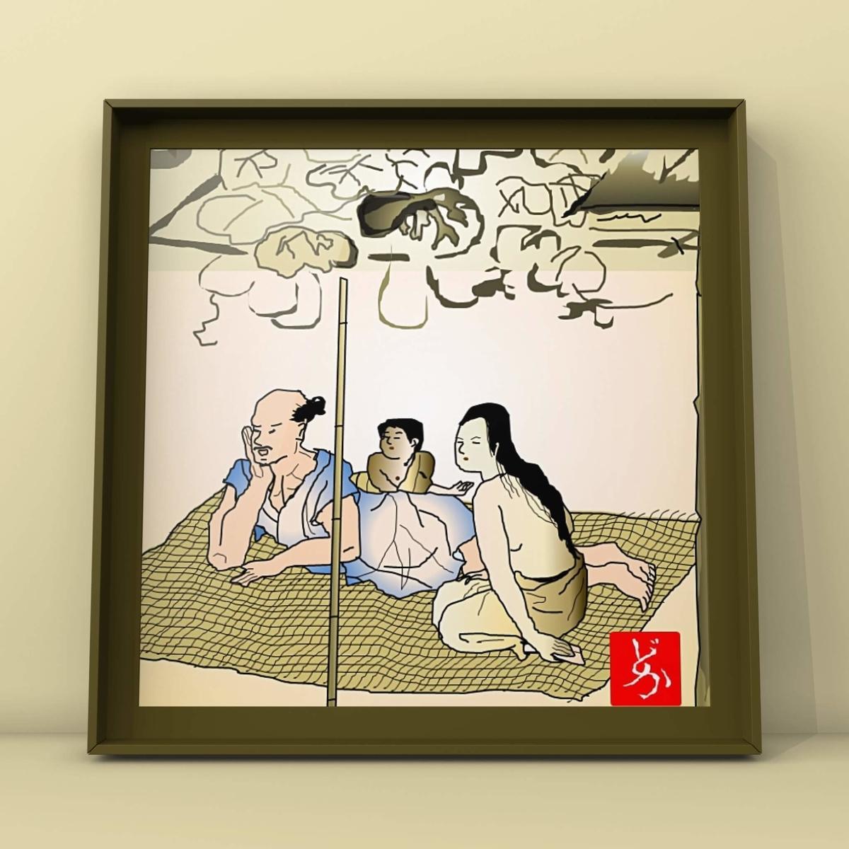 国宝「夕顔棚納涼図屏風」のエクセル画イラスト額装版