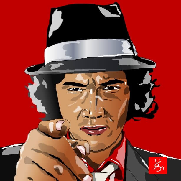 TV版「探偵物語」の松田優作のエクセル画イラスト