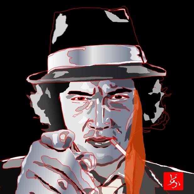 TV版「探偵物語」の松田優作が巨大炎でタバコを吸うエクセル画イラスト