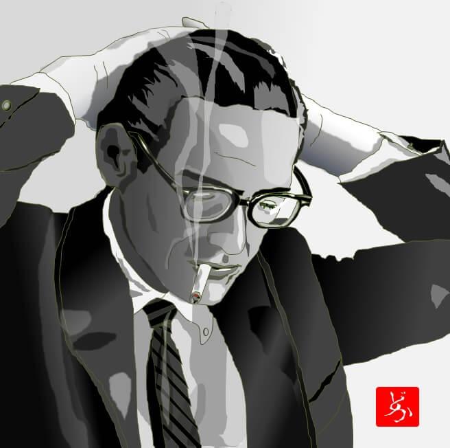 モダン・ジャズのピアニスト、ビル・エバンスのエクセル画イラスト