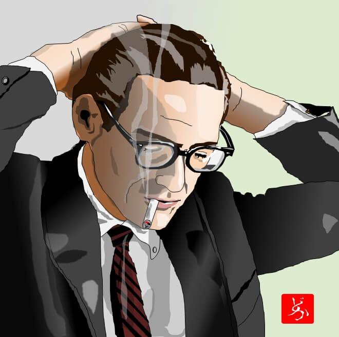 モダン・ジャズのピアニスト、ビル・エバンスのエクセル画イラストカラー版
